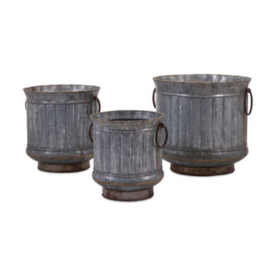 IMAX Worldwide Home Griffin Galvanized Planters with Brass Edging - Set of 3