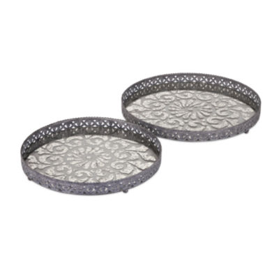 IMAX Worldwide Home Myers Glass and Metal Trays- Set of 2