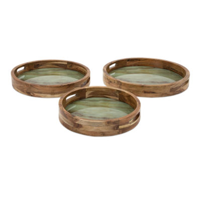 IMAX Worldwide Home Faux Marble and Wood Decorative Trays - Set of 3