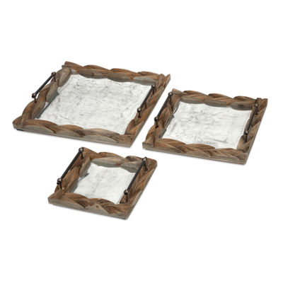 IMAX Worldwide Home Santiago Wooden Trays - Set of3