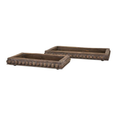 IMAX Worldwide Home Kelly Wooden Decorative Trays- Set of 2