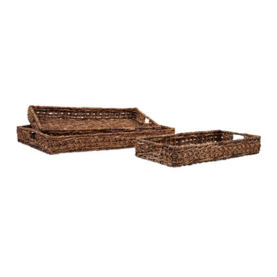 IMAX Worldwide Home Madura Banana Leaf Trays - Setof 3