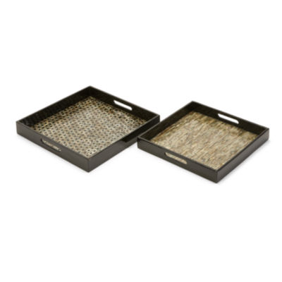 IMAX Worldwide Home Jacobs Mother of Pearl ServingTrays - Set of 2