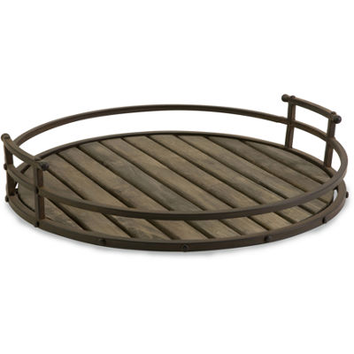IMAX Worldwide Home CKI Vermont Iron and Wood Tray