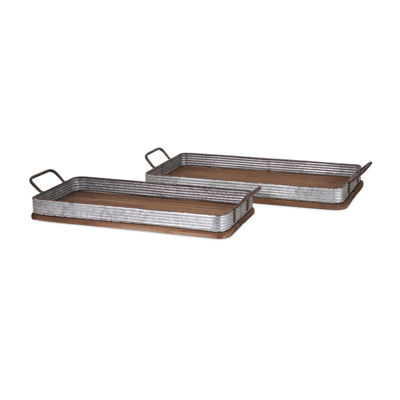 IMAX Worldwide Home Jarvis Decorative Wood Trays -Set of 2