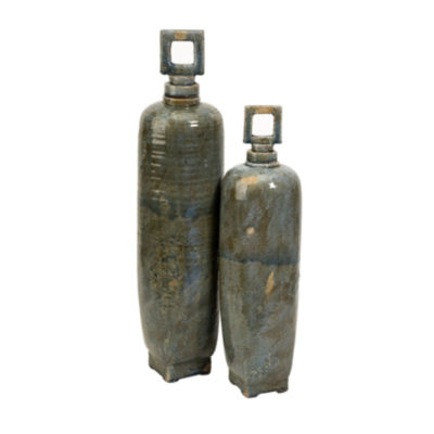 IMAX Worldwide Home Laertes Ceramic Vases with Stoppers - Set of 2