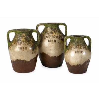 IMAX Worldwide Home Guerrero Terracotta Jars - Setof 3