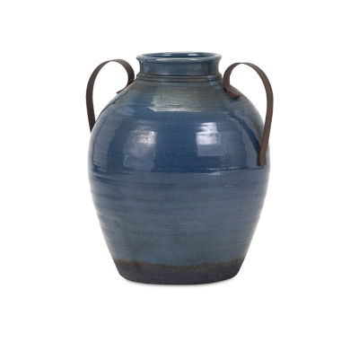 IMAX Worldwide Home Harrisburg  Vase with Metal Handles