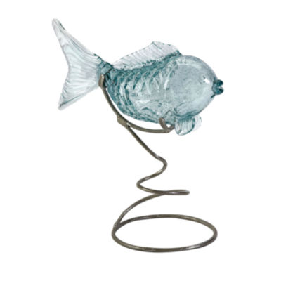 IMAX Worldwide Home Pisces Glass Fish Statuary onMetal Stand