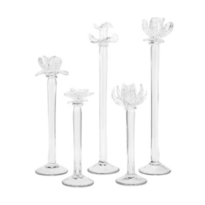 IMAX Worldwide Home Monie Glass Flower Statuaries- Set of 5