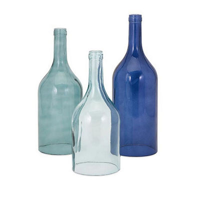 IMAX Worldwide Home Monteith Blue Cloche Bottles -Set of 3