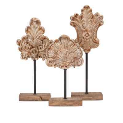 IMAX Worldwide Home Angelil Floral Sculptures on Stands - Set of 3