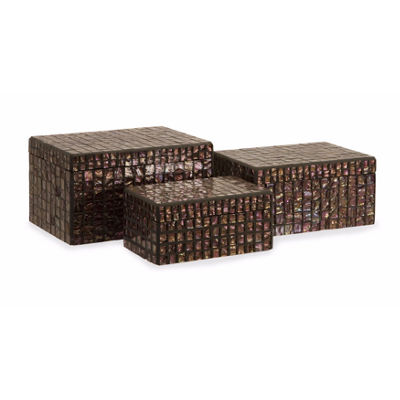 IMAX Worldwide Home Orchid Mosaic Boxes - Set of 3
