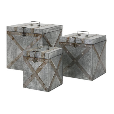IMAX Worldwide Home Parry Galvanized Trunks - Setof 3