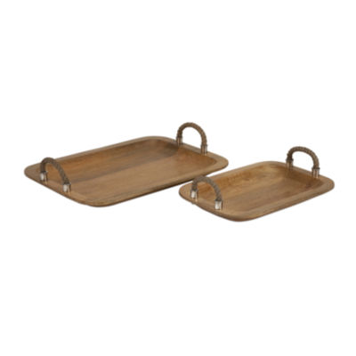 IMAX Worldwide Home Tabari Wood Trays with Jute Handle - Set of 2