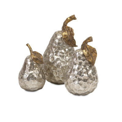 IMAX Worldwide Home Lambert Gold and Silver Pears- Set of 3