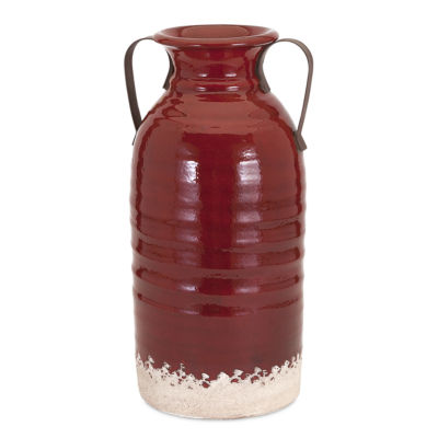 IMAX Worldwide Home Vermont Vase with Metal Handles