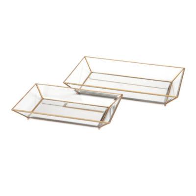 IMAX Worldwide Home Maison Decorative Glass Trays- Set of 2