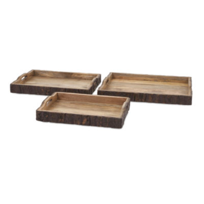 IMAX Worldwide Home Nakato Wood Bark Serving Trays- Set of 3
