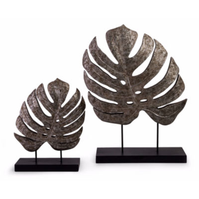 IMAX Worldwide Home Silver Antiqued Leaves - Set of 2