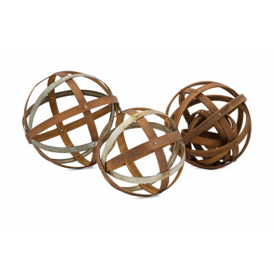 IMAX Worldwide Home Kaiden Wood and Metal Spheres- Set of 3