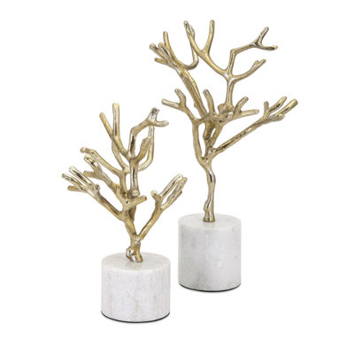 IMAX Worldwide Home Concepts Eden Trees on MarbleBase - Set of 2