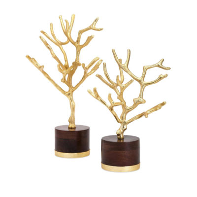 IMAX Worldwide Home Concepts Eden Trees on Wood Base - Set of 2