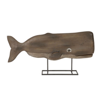 IMAX Worldwide Home Achilles Carved Wood Whale Statuary