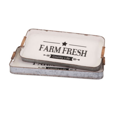 IMAX Worldwide Home Farm Fresh Decorative Trays -Set of 2