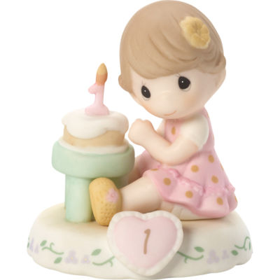 """Precious Moments  """"Growing In Grace  Age 1""""  Bisque Porcelain Figurine  Brunette Girl  #142010B"""