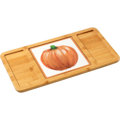 Celebrations by Precious Moments 171526 Thanksgiving Harvest Glass Cutting Board/Trivet  7-inches by7-inches