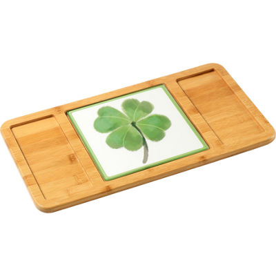 Celebrations by Precious Moments 171529 St. Patrick's Day Shamrock Glass Cutting Board/Trivet  7-inches by 7-inches