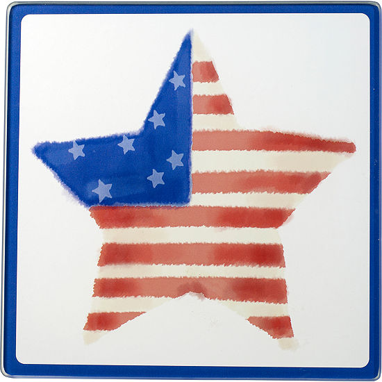 Celebrations By Precious Moments 171531 Patrioticstar Glass Cutting Board Trivet 7 Inches By 7 Inches