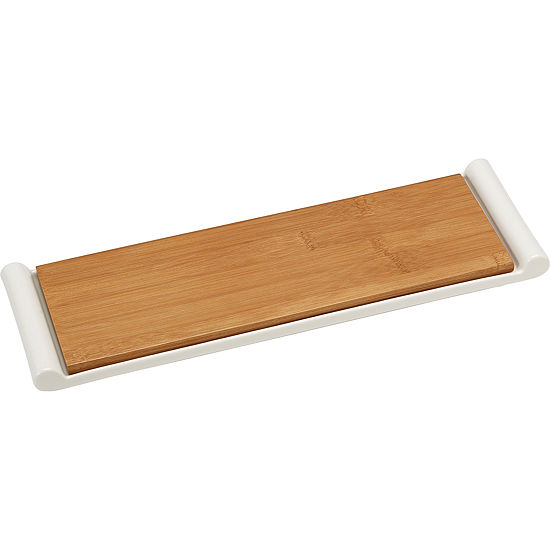 Celebrations by Precious Moments 171518 Serve In Style Bamboo Cutting Board and Porcelain Serving Tray  14-inches by 4.25-inches