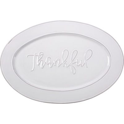 Bountiful Blessings by Precious Moments 179009 Thankful Ceramic Serving Platter  White  18-inches by12-inches