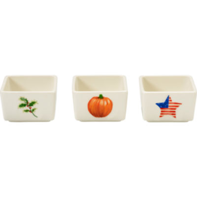 Celebrations by Precious Moments 171513 2 oz Set of Three (3) Small Seasonal Holly  Pumpkin  and Patriotic Star Porcelain Appetizer and Dip Bowls  1.5-inches