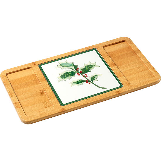 Celebrations by Precious Moments 171515 Bamboo Serving Tray with Glass Holly Cutting Board/Trivet  15.5-inches by 8.25-inches