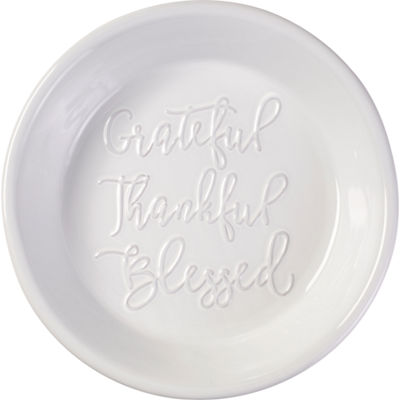 Bountiful Blessings by Precious Moments 179008 Thankful  Grateful  and Blessed Ceramic Pie Plate  White  9-inches