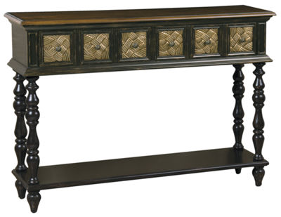 Two Tone Console Table with Metallic Basket Weave Drawer Fronts