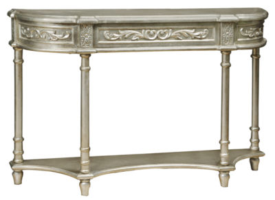 Silver Carved Overlay Console Table