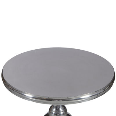 Round Polished Aluminum Silver Pedestal Tripod Base Table