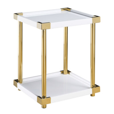 Ariene Modern Gold & White Accent Table