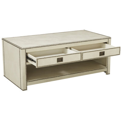 Chester Ivory Faux Leather Wrapped Trunk Style Cocktail Table