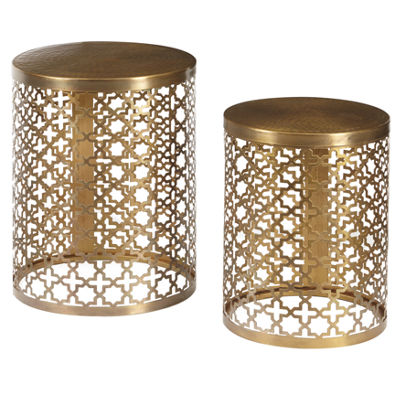Round Perforated Metal Brass Accent Tables - Set of 2
