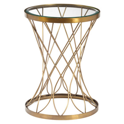 Concave Round Brass Metal Accent Table with Glass Top
