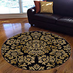 Como Black Damask Traditional Oriental Area Rug
