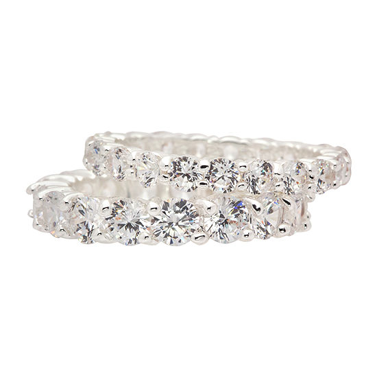 Sparkle Allure Womens White Cubic Zirconia Pure Silver Over Brass Cocktail Ring