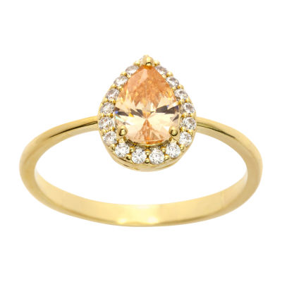 Sparkle Allure Womens 4 3/4 CT. T.W. Champagne Cubic Zirconia 14K Gold Over Brass Cocktail Ring