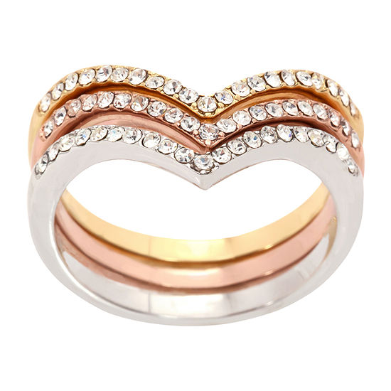 Sparkle Allure Womens Crystal 14k Rose Gold Over Brass Stackable Ring