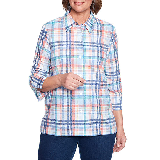 Alfred Dunner Out Of The Blue Womens 3/4 Sleeve Blouse